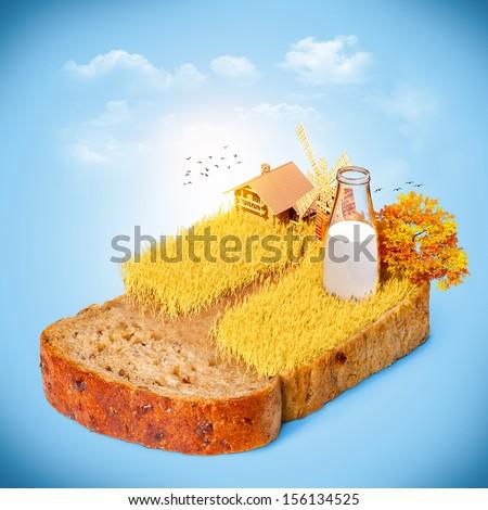 Wheat field on the bread - stock photo