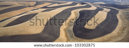 Wheat Fields and Contour Farming, S.E. Washington - stock photo