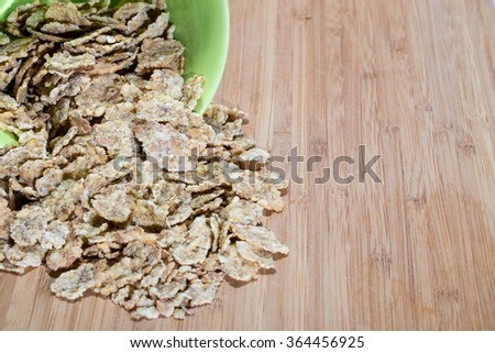 wheat flakes ideal for breakfast and healthy eating - stock photo