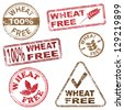 Wheat free food. Rubber stamp illustrations - stock photo