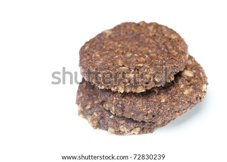 Wheat grain cookies is isolated on white - stock photo