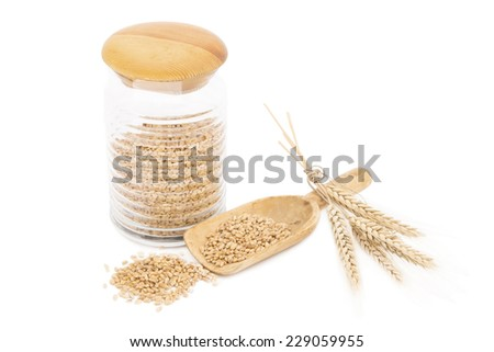 Wheat grains in a glass jar and the wheat ears isolated - stock photo