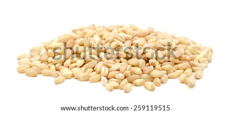 Wheat grains isolated on white - stock photo