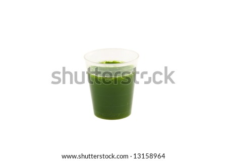 Wheat Grass drink isolated on white background - stock photo