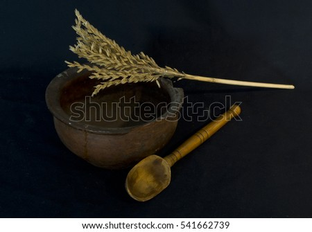 wheat in  old plate  on a black background