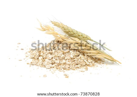 Wheat, Oat And Rye Flakes with Ears Isolated on White Background - stock photo