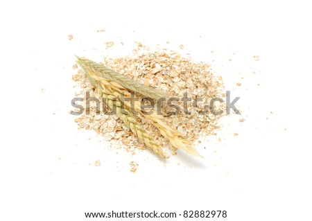 Wheat, Oat, Rye and Barley Flakes with Ears Isolated on White Background - stock photo
