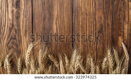 wheat on wooden background. top view. Header for website - stock photo