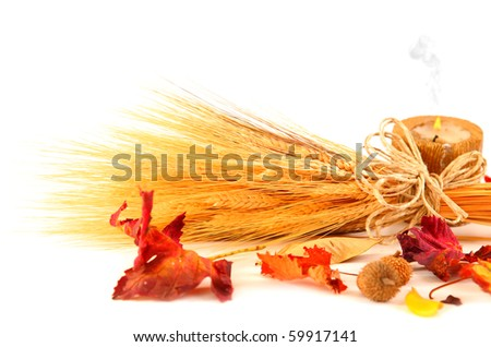 Wheat over white with candle & dry autumn leaves - stock photo