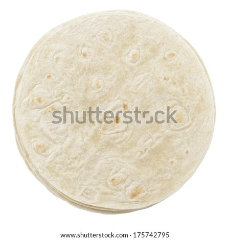 wheat round tortillas from above, isolated on white background - stock photo