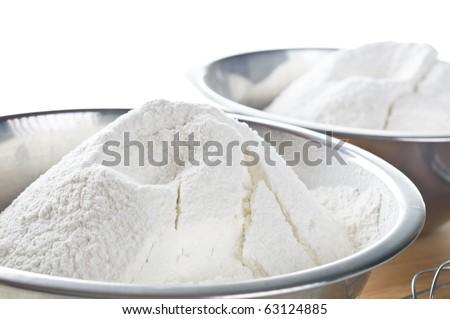 Wheat  white flour in cooking bowl - stock photo
