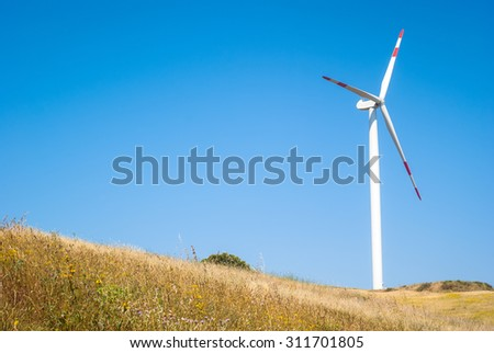 Wheatfield with windmills on blue sky
