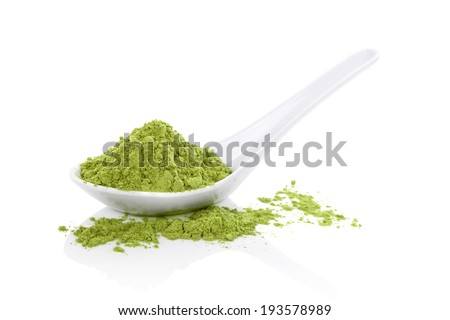 Wheatgrass powder on white spoon isolated on white background. Natural detox, healthy living. Alternative medicine.  - stock photo