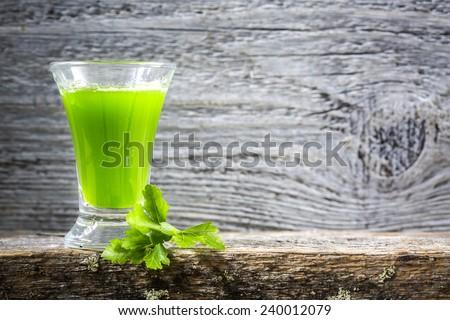 wheatgrass shot - stock photo