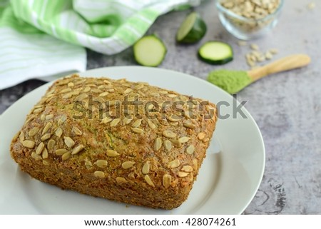 Wheatgrass Zucchini Sunflower Seed Cake - stock photo