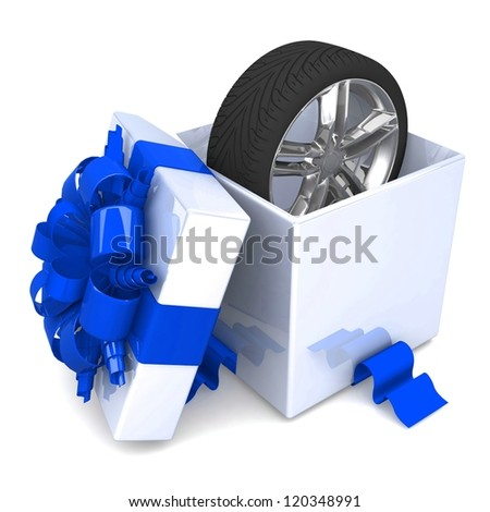 wheel a present, discount for free! opened gift box, with a blue ribbon like a present.  over white background 3d illustration. - stock photo