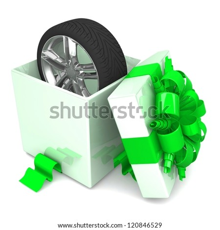 wheel a present, discount for free! opened gift box, with a green ribbon like a present. over white background 3d illustration. - stock photo