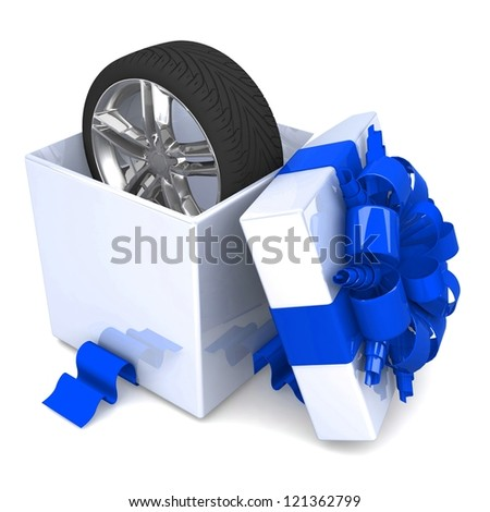 wheel a present, discount for free! opened gift box, with a ribbon like a present. over white background 3d illustration. - stock photo