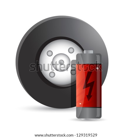 wheel and battery illustration design over a white background - stock photo