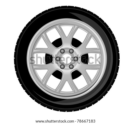 Wheel and tire for transport or service design. Vector version also available in gallery