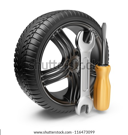 Wheel and tools. Car service. 3D Icon isolated on white background - stock photo