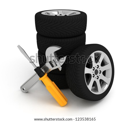 Wheel and Tools. Car service. Isolated 3D image - stock photo