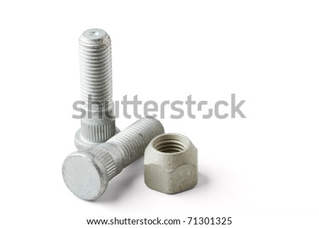 Wheel bolts and nut isolated on a white background