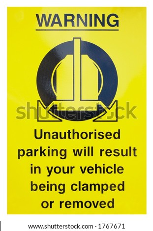 Wheel clamping sign, isolated