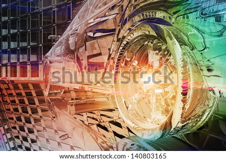 Wheel close up of futuristic car - stock photo