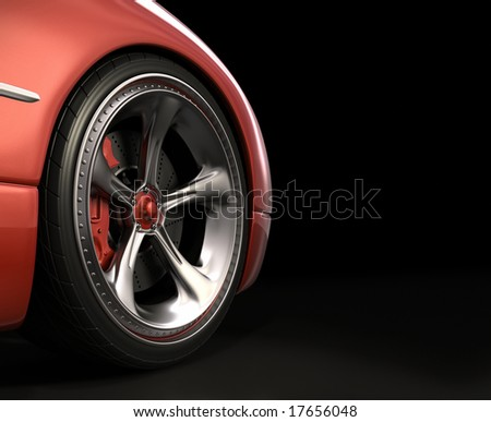 Wheel exclusive design. Your text in the dark space on the right. - stock photo