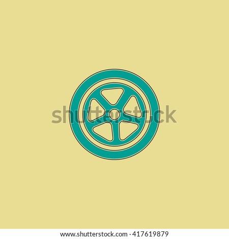 Wheel. Grren simple flat symbol with black stroke over yellow background - stock photo