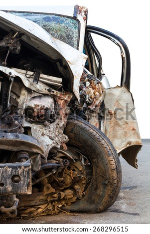 Wheel, headlight, windshield. And other parts, as part of the car was demolished. - stock photo