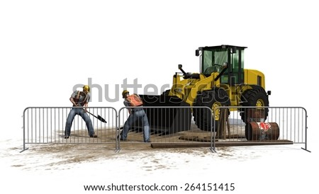 wheel loader bulldozer and construction worker on construction site isolated on white background - stock photo
