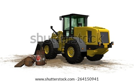 wheel loader bulldozer at construction site isolated on white background