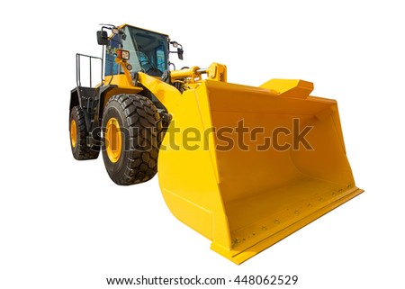 Wheel Loader excavator construction machinery equipment isolated on white background - stock photo