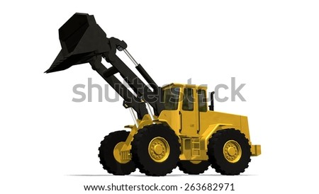 wheel loader isolated on white background