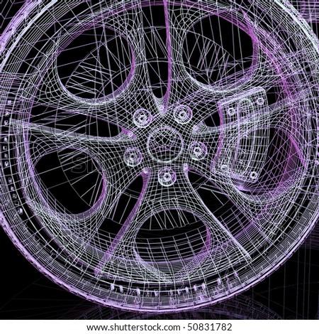 wheel model on black background - stock photo