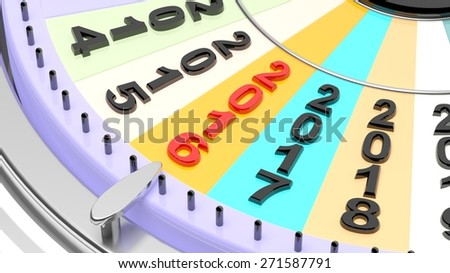 Wheel of fortune with 2016 closeup - stock photo
