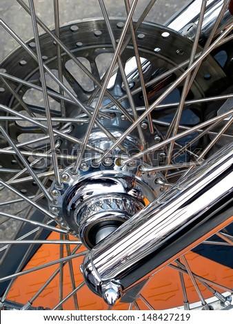 Wheel of motorcycle custom with the radiuse - stock photo