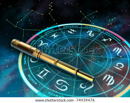 Wheel of the zodiac and telescope over a sky background. Digital illustration. - stock photo