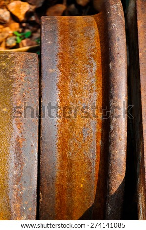 Wheel of Vehicles moving on rails - stock photo