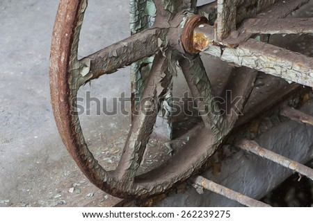 Wheel on a Food Trolley in Eastern State Penitentiary, Philadelphia, Pennsylvania - stock photo