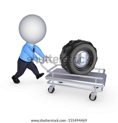 Wheel on a pushcart.Isolated on white.3d rendered. - stock photo