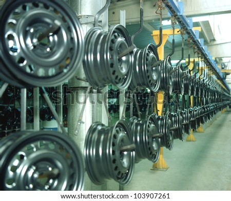 wheel production - stock photo