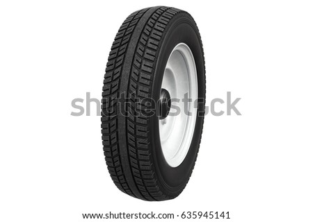 Wheel retro car rubber tire classic design. 3D rendering