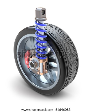 Wheel, shock absorber and brake pads - stock photo
