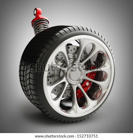 Wheel, shock absorber and brake pads. High resolution 3d render  - stock photo