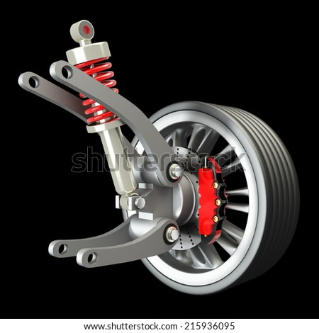 Wheel, shock absorber and brake pads. Isolated on black background. 3d - stock photo