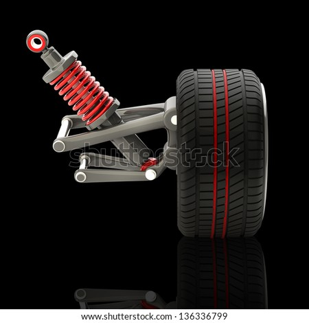 Wheel, shock absorber and brake pads. Isolated on black background. High resolution 3d render - stock photo