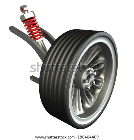 Wheel, shock absorber and brake pads. Isolated on white background. 3d  - stock photo